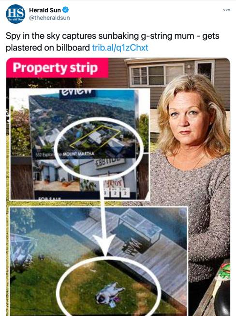 Drone privacy story by Herald Sun